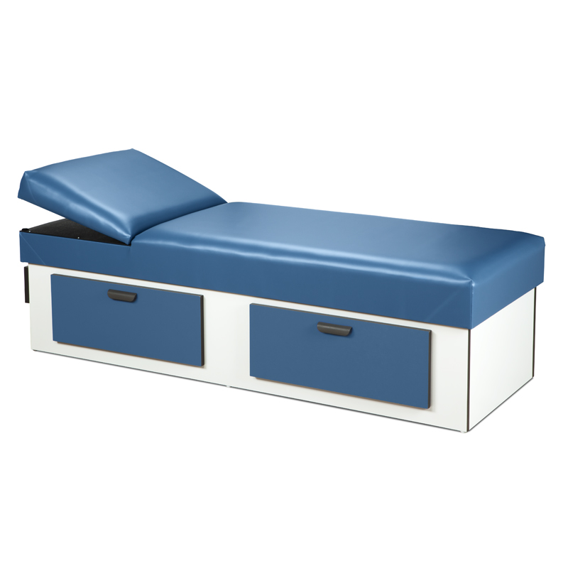 Upholstered Apron Couch W/ Double Drawer