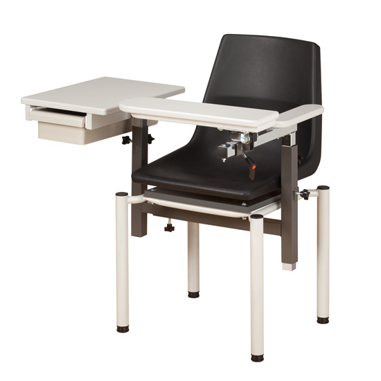 Blood Drawing Chair with ClintonClean Flip Arm and Drawer