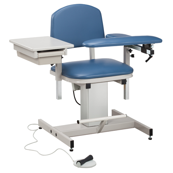 Power Blood Drawing Chair with Padded Flip Arm and Drawer