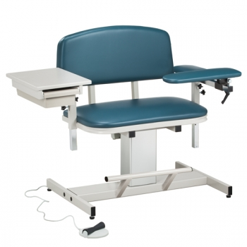 Extra Wide Power Blood Drawing Chair with Padded Flip Arm and Drawer