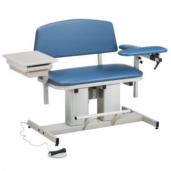 Bariatric Power Blood Drawing Chair with Padded Flip Arm and Drawer